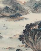 【已售】何实 四尺横幅《乘风好扬帆》 吉林著名山水画家