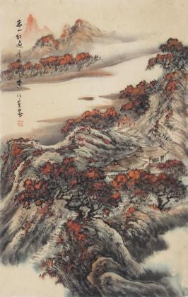 何实 四尺三开《万山红遍层林尽染》 吉林著名山水画家