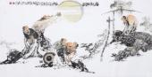 著名人物画家李傅宇四尺横幅写意人物《醉翁亭雅集图》