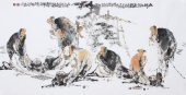 李傅宇 四尺横幅《论道图》 著名人物画家