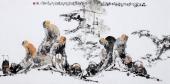 著名人物画家李傅宇四尺横幅写意人物画《品茶图》