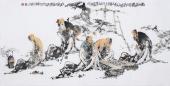 李傅宇 四尺横幅《对弈图》 著名人物画家