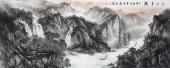 山水画名家周卡 八尺横幅精品国画《江山多娇》