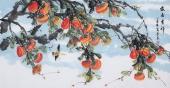 著名花鸟画家周翁弟四尺写意柿子《盛世吉祥》