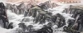 国礼艺术家周卡 八尺写意山水画《源远流长》