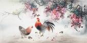安徽美协云志四尺横幅写意雄鸡图《大吉大利》
