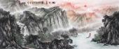 【已售】周卡 八尺横幅写意山水画《旭日东升》