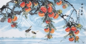 广西美协周翁弟四尺横幅写意柿子《和谐盛世》