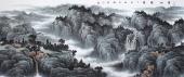 河北著名山水画家牛鸿亮八尺写意精品山水《青山滴翠》