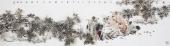 江苏美协石慵六尺对开写意人物画《南阁风凉有榴红》