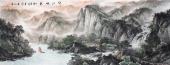 著名山水画家周卡写意八尺横幅《峡江帆影》