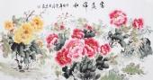 安徽美协云志四尺横幅写意牡丹《富贵祥和》