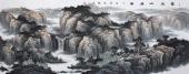 牛鸿亮 八尺山水《富水山居图》 办公室装饰山水画