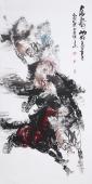王杰写意动物画 四尺竖幅八骏图《马到成功》
