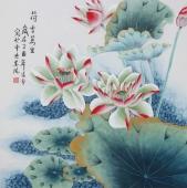 北京美协凌雪四尺斗方工笔花鸟画《荷香万里》
