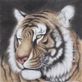 【已售】河南著名动物画家郭凤丽 四尺工笔《王者风范》