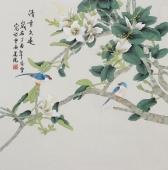 【已售】北京美协凌雪四尺斗方工笔花鸟画《清香久远》