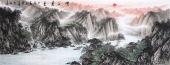 国礼山水画名家周卡 六尺横幅精品国画《峡江秀色》