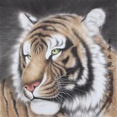 河南著名动物画家郭凤丽 四尺工笔《王者之风》