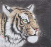河南著名动物画家郭凤丽 四尺工笔《 王者风范》