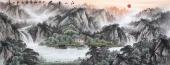 国礼山水画名家周卡 六尺横幅精品国画《江山多娇》