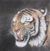 【询价】河南著名动物画家郭凤丽 四尺工笔《神威》