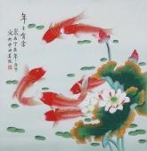 北京美协凌雪四尺斗方工笔花鸟画《你年年有余》