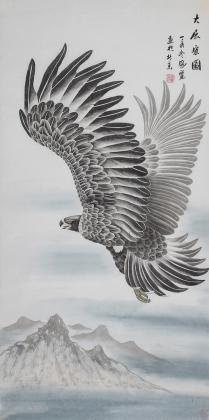 河南著名动物画家郭凤丽 四尺工笔《大展宏图》