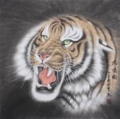河南著名动物画家郭凤丽 四尺工笔《虎啸图》