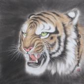 河南著名动物画家郭凤丽 四尺工笔《雄风》