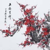 广西美协周翁弟四尺斗方写意梅花《五福吉祥》