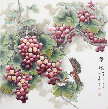 张琳 工笔斗方《紫珠》 河北省美术家协会会员