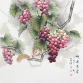 【已售】张琳 工笔斗方《硕果累累》 河北省美术家协会会员