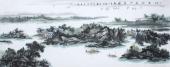 著名山水名家杨秀亮写意小六尺山水画《江山诗意入画图》