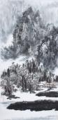 著名山水名家杨秀亮写意四尺山水画《寒冬》