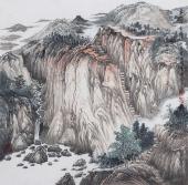 【已售】崔广同 精品斗方《云山清音》 高级工艺美术师