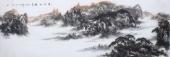 著名山水名家杨秀亮写意小六尺山水画《奇峰松涛》
