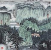 【已售】崔广同 精品斗方《绿阴幽居》 高级工艺美术师