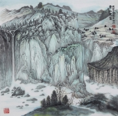 崔广同 精品斗方《青山泉音》 高级工艺美术师