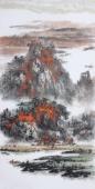著名山水名家杨秀亮写意四尺山水画《金秋》