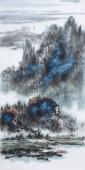【已售】著名山水名家杨秀亮写意四尺山水画《夏云》