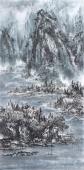 著名山水名家杨秀亮写意四尺山水画《冬岭秀寒松》