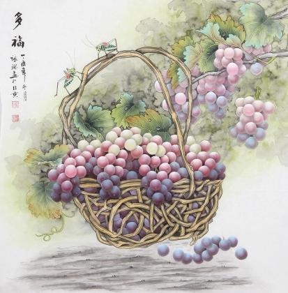 张琳 工笔斗方《多福》 河北省美术家协会会员