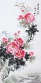 安徽美协云志四尺竖幅写意牡丹《大富贵》