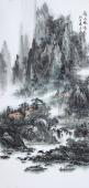 【已售】著名山水名家杨秀亮写意四尺山水画《溪山风情》