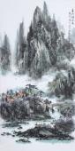 著名山水名家杨秀亮写意四尺山水画《春山新雨后》