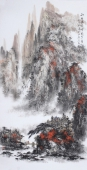 【已售】著名山水名家杨秀亮写意四尺山水画《秋月杨明辉》