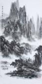 著名山水名家杨秀亮写意四尺山水画《云峰耸翠》