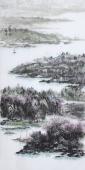 著名山水名家杨秀亮写意四尺山水画《青山碧水》