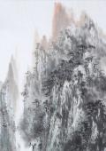著名山水名家杨秀亮写意四尺山水画《云峰泽秀》